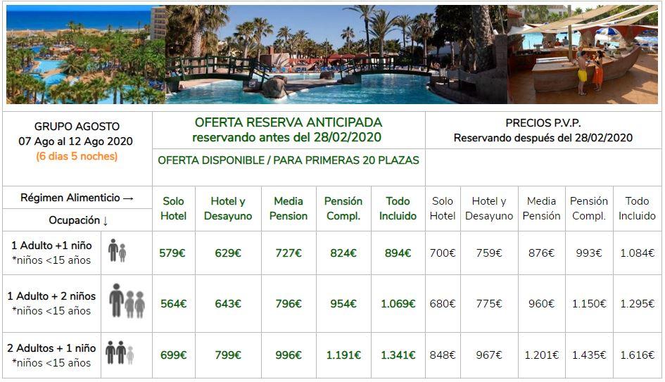 Precios Vacaciones Singles con hijos Hotel Playasol Grupo 7 al 12 Agsoto 2020