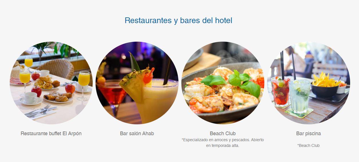 Restaurantes y Bares Hotel Playaballena Aquapark y spa en Cadiz