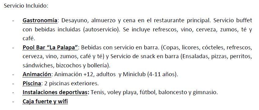 Servicios del Todo Incluido en Hotel Impressive Playa de Granada en Motril