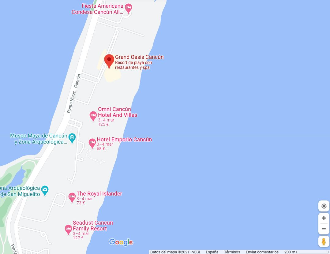 como llegar mapa ubicacion hotel oasis cancun