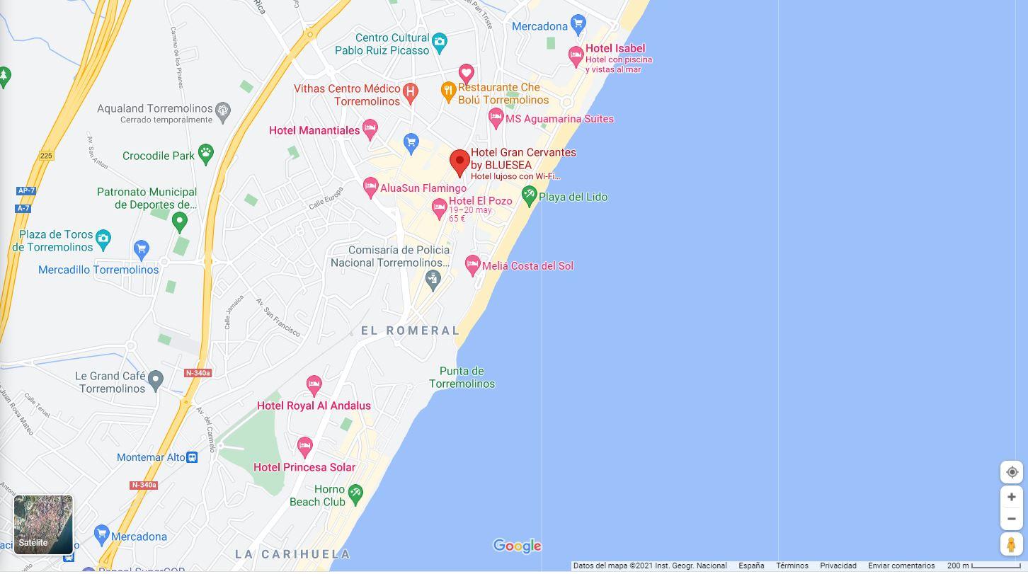 Ubicacion y mapa como llegar al hotel Cervantes Torremolinos