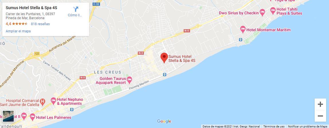Ubicacion como llegar al Sumus Hotel Stela en Pineda de Mar