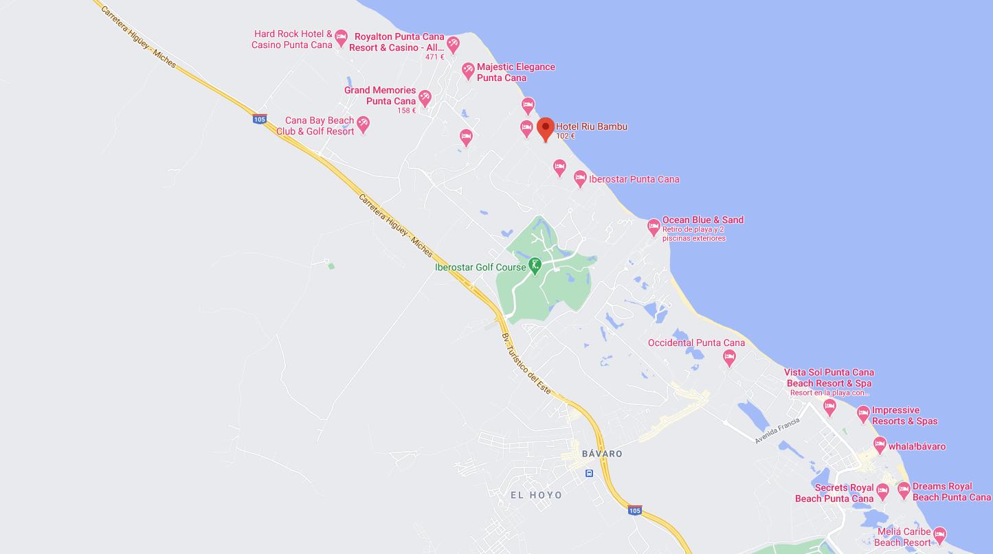 Mapa Ubicacion como llegar al Hotel Riu bambu Punta Cana Republica dominicana